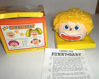 Vintage Clown Doll Head - Martha Nelson Thomas - Funny Baby - Story & Activity Sheet - Original Box - Martha N Thomas Funny Baby Clown Head
