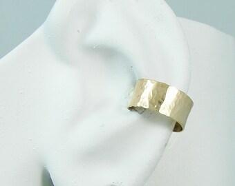 Ear Cuff Gold Non-pierced Cartilage Wrap Earring Fake Conch NoPiercing Cuff Earring Simple Earcuff Cuff Earring Faux Pierced Hammered E1GFHM