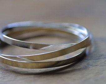 Triplets - Simple, Boho Chic Sterling Silver Interconnected Bangles - Bracelet Set- Silver Bangle Bracelets