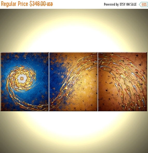 ORIGINAL Painting, Contemporary Abstract Art, Blue Gold Night Star, Textured PAINTINGS by Lafferty - 72x30 - 22% Off Sale
