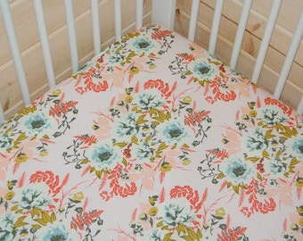 baby girl bedding-floral crib sheet- pink baby bedding- fitted crib sheet / mini crib sheet/ floral changing pad cover- floral crib bedding