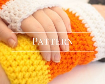 Fingerless gloves, Crochet pattern Candy Corn Fingerless gloves, Halloween