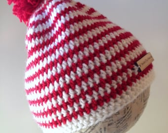 Beanie striped, red white, yellow white, blue white Crochet hat