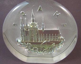 Vintage Praha Prague Bohemian Glass Paperweight Made in Bohemia Czech Republic