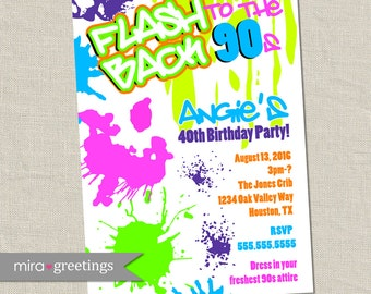 90s Birthday Party Invitations - 40th Birthday Invites - flashback invitations Neon throwback - Retro 80's 90's (Digital Printable File)