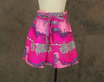 CLEARANCE Sale vintage 60s Mini Skirt - 1960s Psychedelic Pink Skirt Abstract Hot Pink Skirt Sz S M