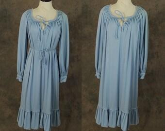 vintage 70s Tent Dress - 1970s Boho Baby Blue Peasant Dress - Gypsy Hippie Dress Sz M L XL