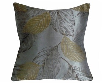 Leaves Pillow, Metallic Shimmer Charcoal Grey, Pewter, Brown, Sage Green, Contemporary Couch Pillow, 18x18