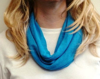 Aqua Dainty Pointelle Jersey Knit Infinity Scarf - Aquamarine Circle Scarf - Loop Scarf - Forever Scarf