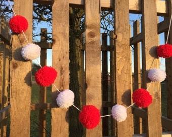 Christmas Pom Pom garland handmade red and white, 9 yarn bobble Pom poms, 4ft 3in or 1.56m