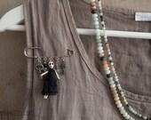 Glamour Skeleton Art Brooch Pin, miniature cloth