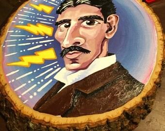 Nikola Tesla Caricature Portrait - Acrylic Painting On Wooden Plaque