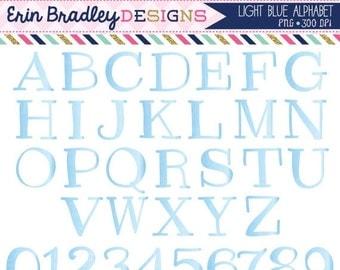 60% OFF SALE Light Blue Clipart Alphabet Digital Scrapbooking Alpha Instant Download Commercial Use Clip Art
