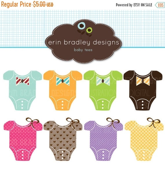 50% OFF SALE Baby Tees Clipart Clip Art Personal & Commercial Use
