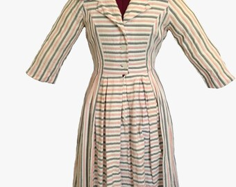 Gray Pink White Striped Shirtdress 1960's Vintage