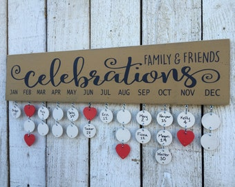 Family and Friends Celebrations board - birthday calendar, family birthday board, wall family calendar, choose colors