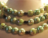 Moving on SALE Beautiful Shades of Green, Excellent, Never Worn, Vintage, Faux Pearl, 3 Strand, Bridesmaid 1950s Necklace