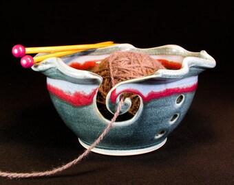 Yarn Bowl - Blue Knitting Bowl - Knitting Storage - Yarn Organizer - In Stock