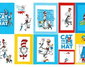 Celebration Dr. Seuss The Cat in the Hat Blocks Chilrens' Fabric by Robert Kaufman for Seuss Enterprises