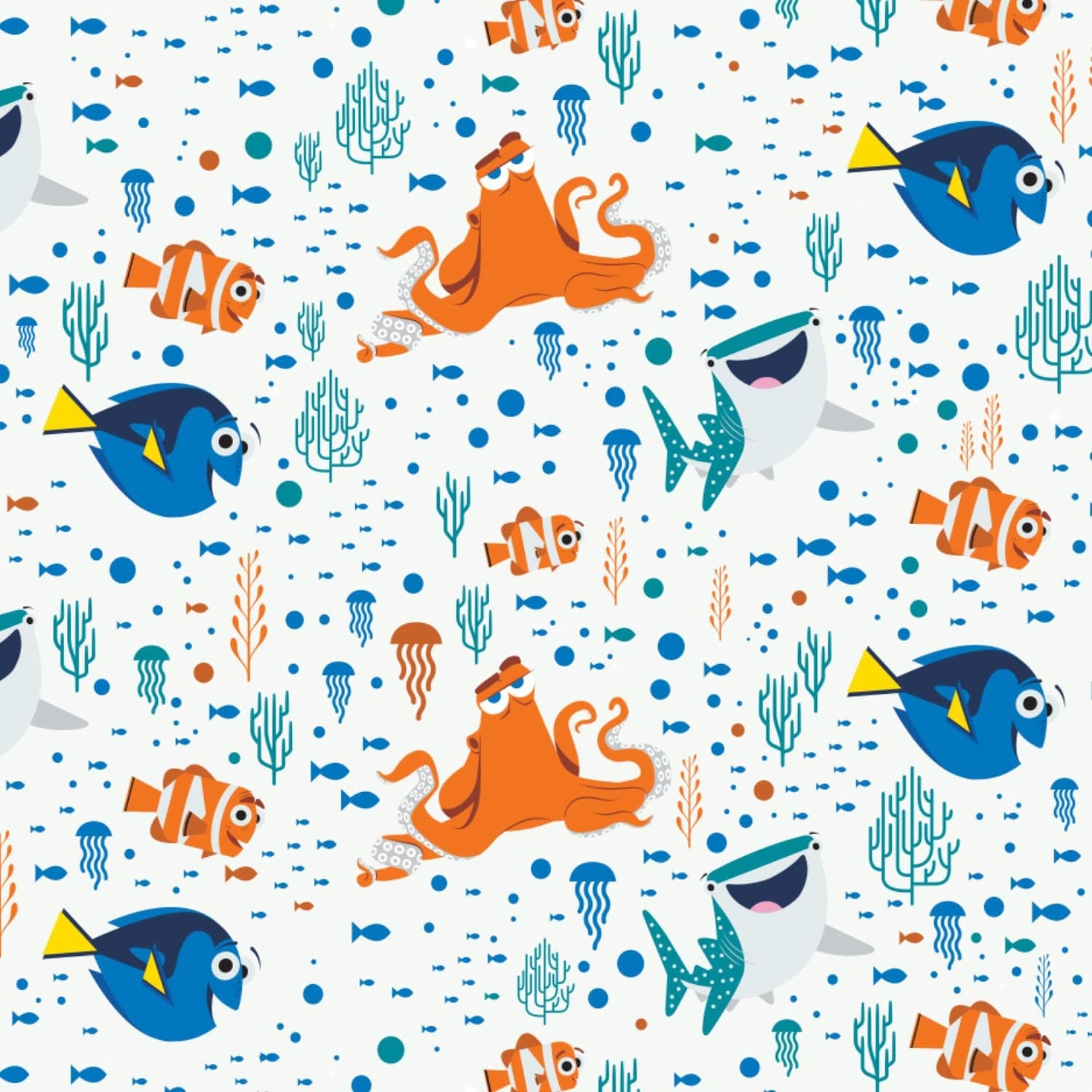 Finding dory characters white coral cotton children 39 s for Kids character fabric