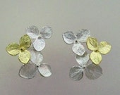 Flower Earrings, Silver and Gold Earrings, Two Tone Hydrangea Flower Cluster Earrings, Wedding Earrings, Post Earring, Made to Order