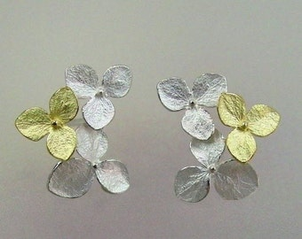 Flower Earrings, Silver and Gold Earrings, Two Tone Hydrangea Flower Cluster Earrings, Wedding Earrings, Post Earring, Made to Order