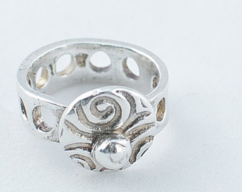 Silver Art Clay Swirl Ring with Silver  Nugget and Hole band
