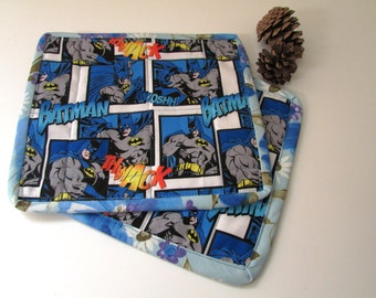 Batman Snack Mat SET (2) two mini placemats, quilted, reversible