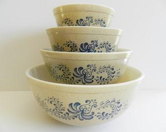 Pyrex Homestead Bowls, Pyrex Nesting Bowl Set, Homestead Pyrex Bowls