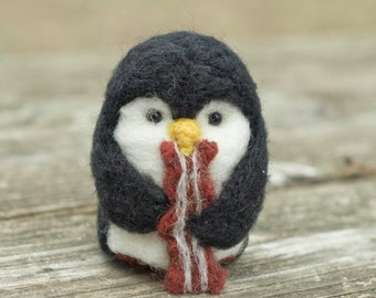 Needle Felted Penguin - Hungry for Bacon