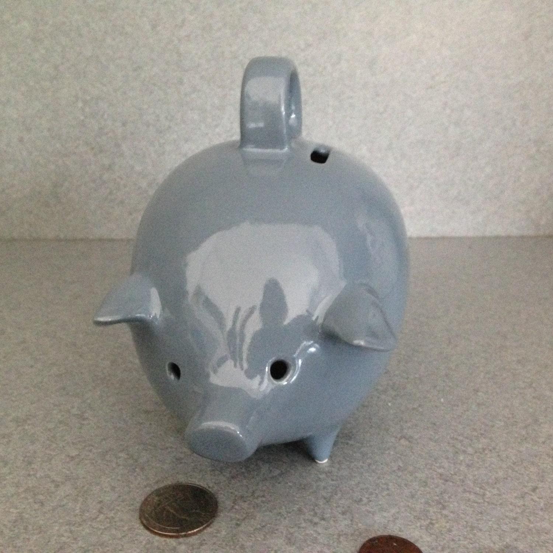 Piggy Bank Vintage Ceramic Piggy Bank Dusty Blue Pig