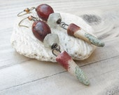 Long Earthy Bohemian Earrings, Handmade Jewelry, Primitive Style, Russet Red and Light Green