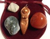 Spiral Goddess Blessing Pocket Altar (mini altar, medicine bundle, blessing pouch, priestess, ritual, ceremony)
