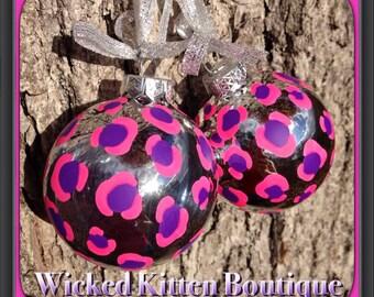 2 Leopard Christmas Ornament Christmas Decoration Leopard Ornament Psychobilly Rockabilly Gothic Christmas Ornament Cheetah Ornament Glass
