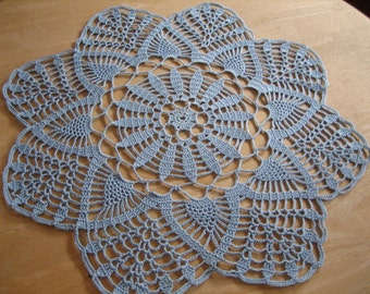 Blue, crochet lace doily, Christmas gift doily, ready, delft blue, home living, made by Demet, ice look. crisp, round, Free Shipping in U.S.