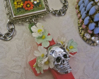 DAY of the DEAD NECKLACE Boda Brillante: Honeysuckle Cross with Skull Floral Vintage Assemblage Micro Mosaic Statement One of a Kind ooak