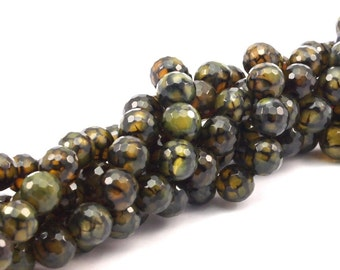 Green Crab Agate 8 mm Disco Faceted Gemstone Round Beads Full Strand 15.5 inches