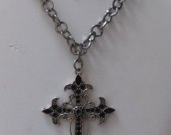 cross necklace earring set