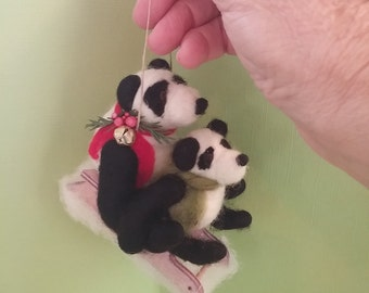 Panda Pals Sledding Felted Wool Ornament - NEW for 2016