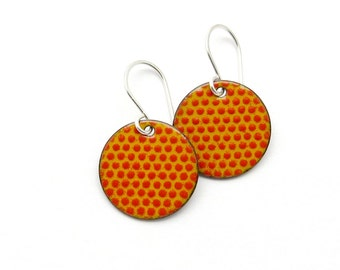 Orange Red Earrings - Orange Red Enamel - Round Earrings with Polka Dots - Handmade Enamel Earrings - Enamel Jewelry / Handmade in Latvia