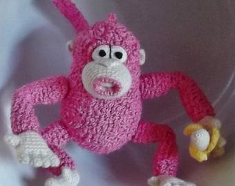 Bonnie's OOAK Crochet Cotton Thread Item Pink Monkey Doll & Banana Doll / Not A Toy
