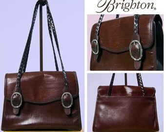 90s Brighton Brown Leather Bag – Braided Shoulder Straps
