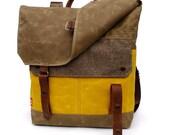 Waxed Canvas Backpack / Herringbone Recycled Wool & Yellow Waxed Canvas