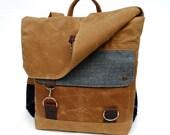 Waxed Canvas Backpack / Seafoam Tweed Recycled Wool