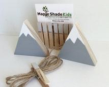 Mountain Art Display Clips, Adventure Nursery, Mountain Nursery, Archery, Wood Mountain, Gray and White, Picture line, Art Line, Art Display