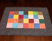 Quilted Table Runner, Handmade, 16x23 inches, Pieced Scrappy, Table Topper Mat, Machine Quilted, Dining Table Decor