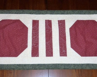 Quilted Apple Table Runner, 16x35 inches,  Machine Quilted, Quilted Table Topper, Sale Priced, Dining Table Decor