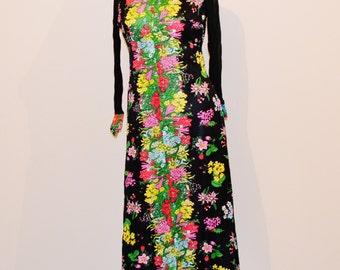 Vintage Pop Art Floral Maxi Dress