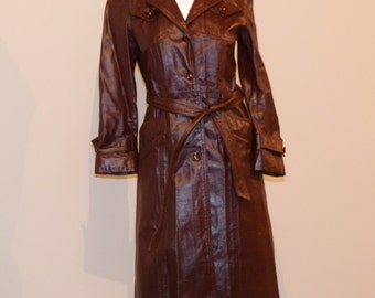 SALE:    Vintage Coat Leather with Belt