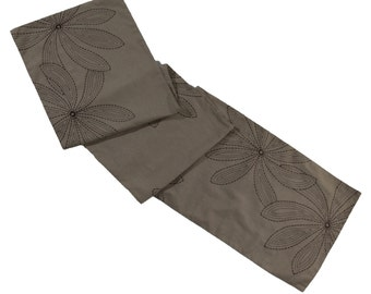 Leaves Linen Table Runner, Embroidered Table Top, Light Brown Linen Dark Brown Leaves, Custom Wedding Table Linen, Long Table Runner